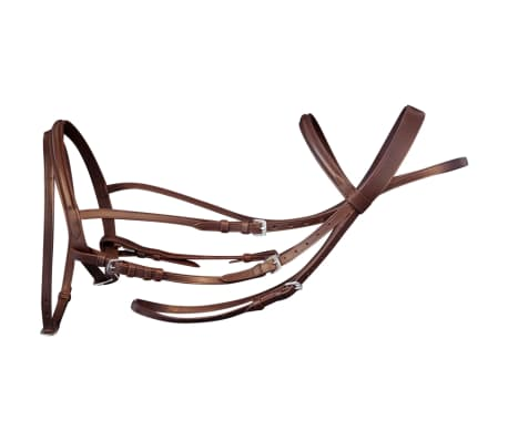 vidaXL Flash Bridle with Reins and Bit Leather Brown Pony[2/8]