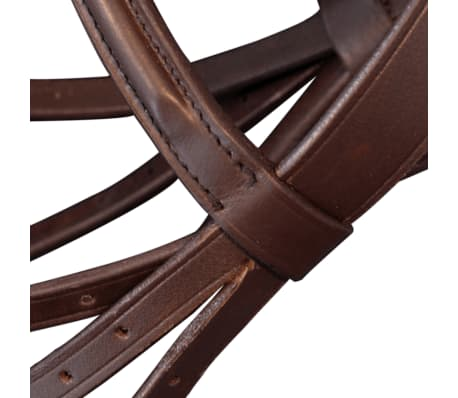 vidaXL Flash Bridle with Reins and Bit Leather Brown Pony[4/8]