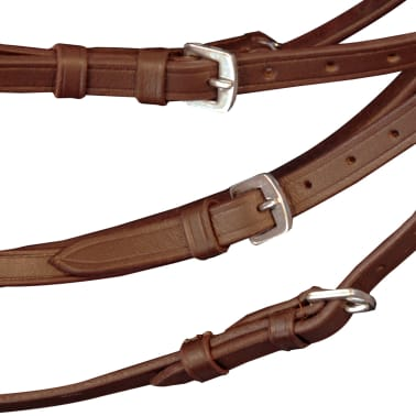 vidaXL Flash Bridle with Reins and Bit Leather Brown Pony[3/8]