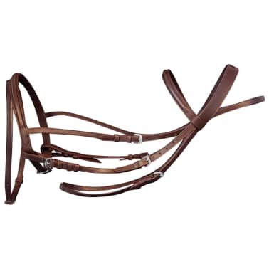 vidaXL Flash Bridle with Reins and Bit Leather Brown Cob[3/8]