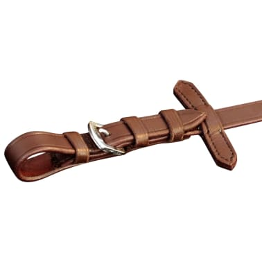 vidaXL Flash Bridle with Reins and Bit Leather Brown Cob[4/8]