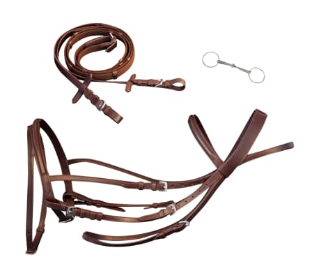 vidaXL Flash Bridle with Reins and Bit Leather Brown Full[1/8]