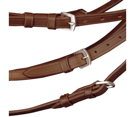 vidaXL Flash Bridle with Reins and Bit Leather Brown Full[4/8]