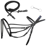 vidaXL Flash Bridle with Reins and Bit Leather Black Pony