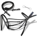 vidaXL Flash Bridle with Reins and Bit Leather Black Cob