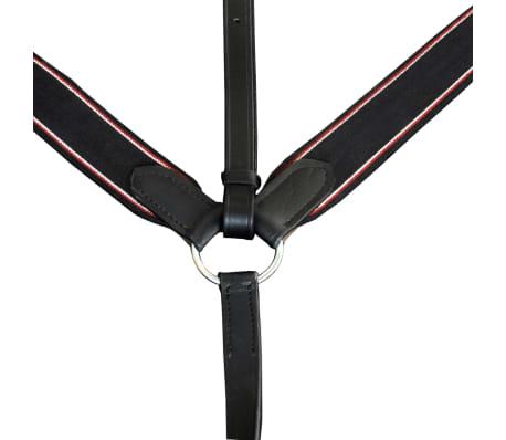 vidaXL Elastic Breastplate Leather Adjustable Black Pony[2/2]