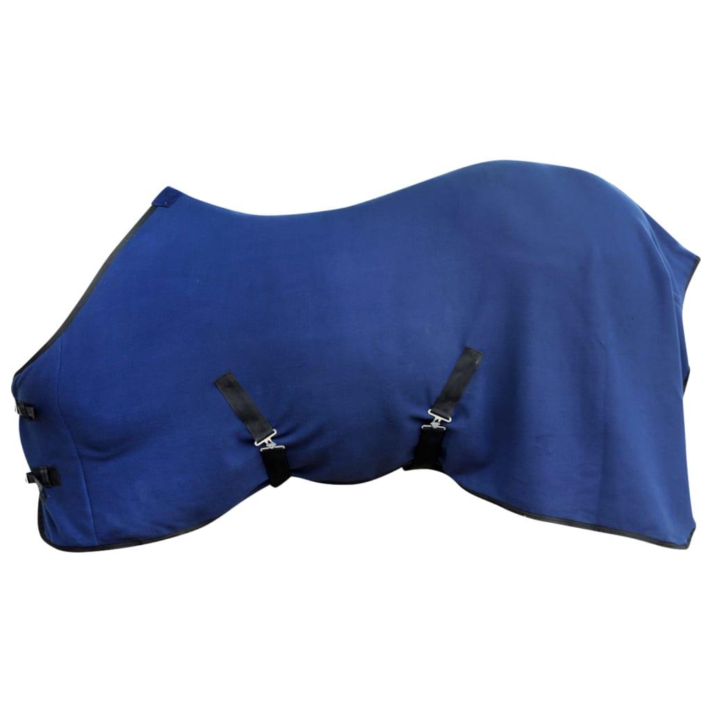 Pled din lână cu cingătoare 125 cm, albastru vidaxl.ro