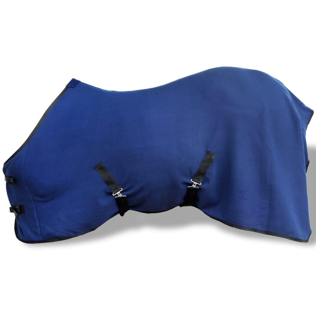 Pled lână cu chingi, 135 cm, albastru vidaxl.ro