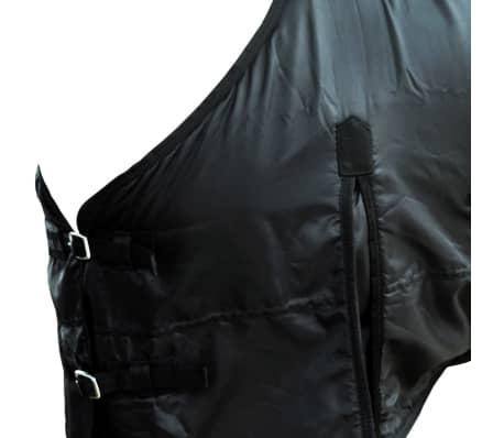 vidaXL Fleece Rug Double Layers with Surcingles 105 cm Black[3/3]