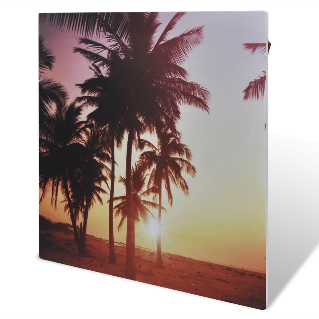 Infračervený topný panel nástěnný 400 W 60 x 60 cm, s motivem palmy