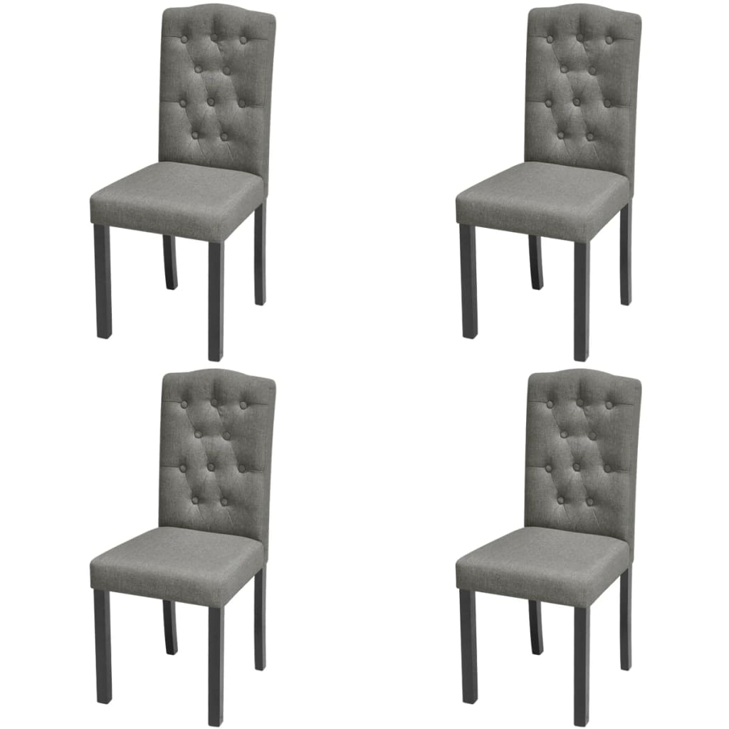 vidaXL 4 Dining Chairs Fabric Upholstery Dark Grey