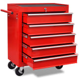 vidaXL Workshop Tool Trolley 5 Drawers Red