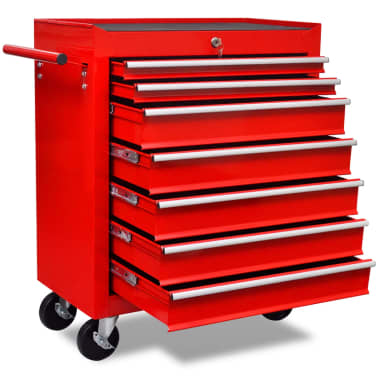 vidaXL Workshop Tool Trolley 7 Drawers Red[1/6]
