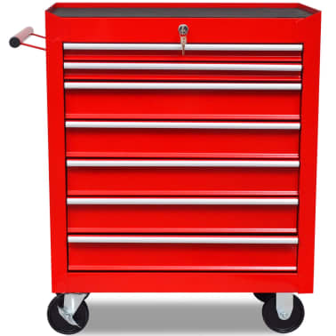 vidaXL Workshop Tool Trolley 7 Drawers Red[3/6]