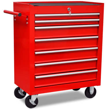 vidaXL Workshop Tool Trolley 7 Drawers Red[4/6]