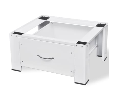 vidaXL Washing Machine Pedestal with Drawer White[3/4]