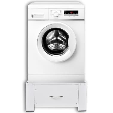 vidaXL Washing Machine Pedestal with Drawer White[2/4]