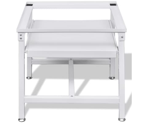 Washing Machine Pedestal with Pull-Out Shelf White[4/4]