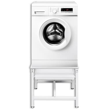 Washing Machine Pedestal with Pull-Out Shelf White[2/4]