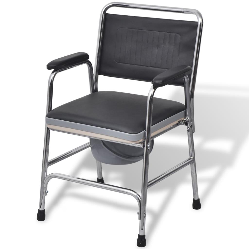 vidaXL scaun cu toaletă din oțel, negru imagine vidaxl.ro