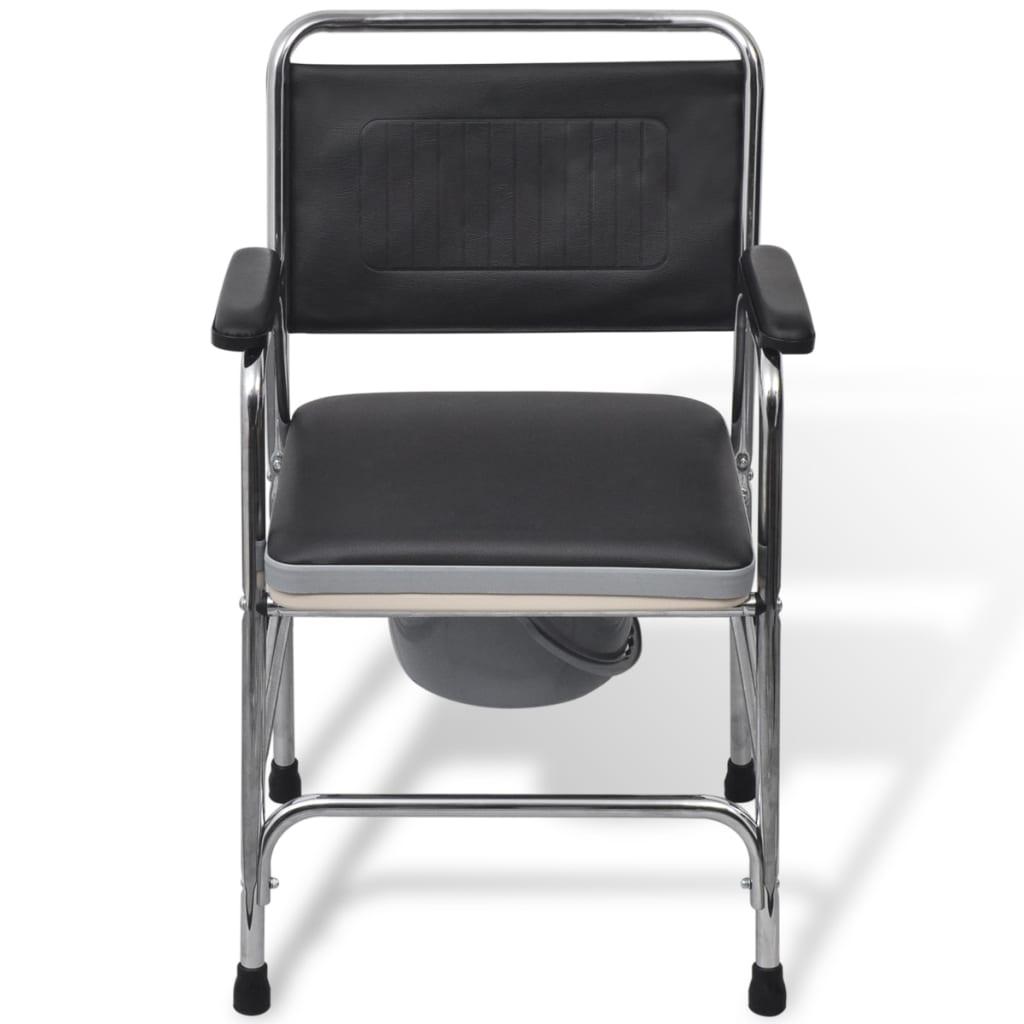 vidaXL Toaletní židle s nočníkem ocelová, černá