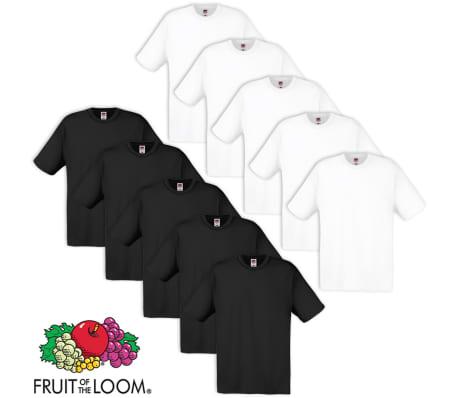 10x Fruit of the Loom Original T-Shirt 100% Baumwolle Weiß Schwarz ... a2241f2066
