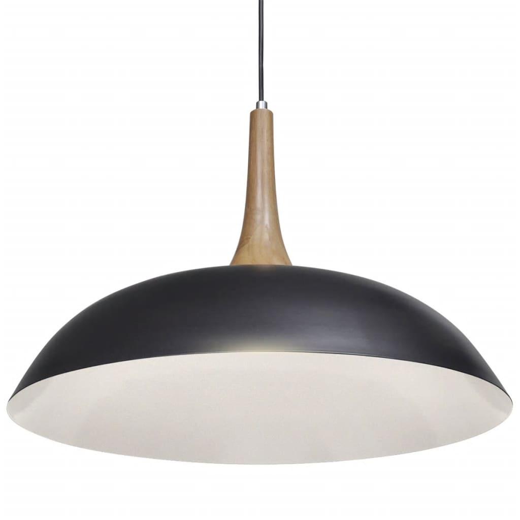 Černé závěsné svítidlo z oceli a dřeva