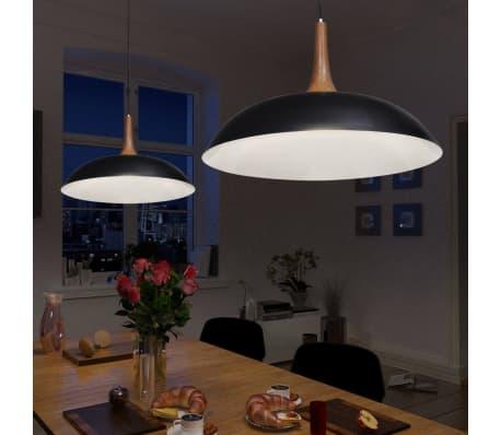 schwarze pendelleuchte h ngelampe aus stahl und holz zum. Black Bedroom Furniture Sets. Home Design Ideas