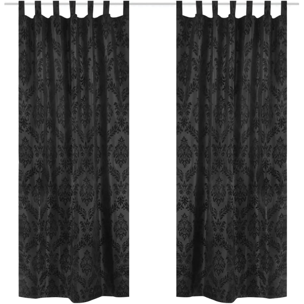 Afbeelding van vidaXL 2 Barok Taffeta Tab Top Gordijnen 140 x 225 cm Zwart