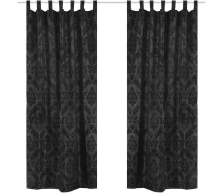 2 Barock-Taft-Vorhänge 140 x 245 cm Schwarz[1/3]