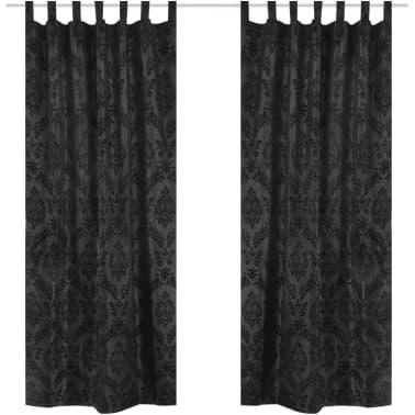 vidaXL 2 Gordijnen tafzijde barok 140 x 245 cm zwart[1/3]