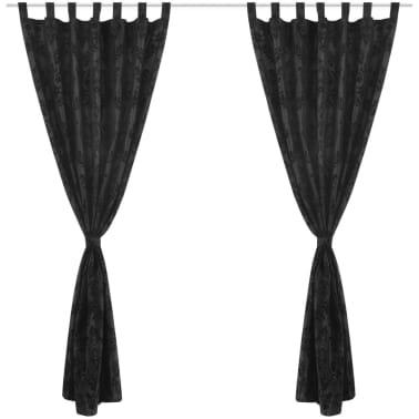 2 Barock-Taft-Vorhänge 140 x 245 cm Schwarz[2/3]