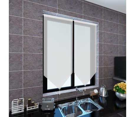 vidaXL Perdele bucătărie voal cu aspect de pânză 2 buc. 60x120 cm Alb[2/4]