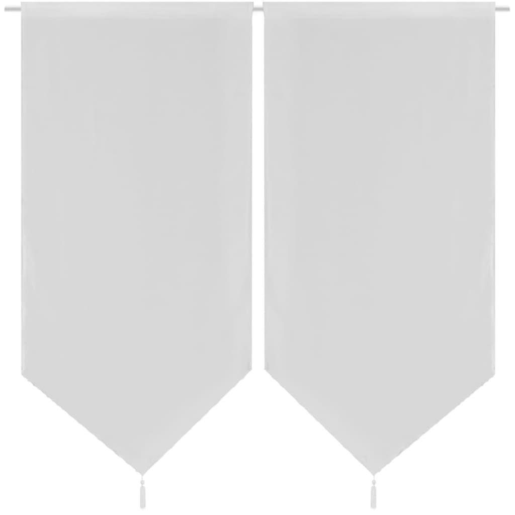 Afbeelding van vidaXL 2 Keukenvitrages linnenachtig 60 x 160 cm wit