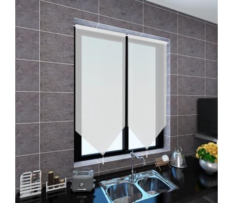 vidaXL Perdele bucătărie voal cu aspect de pânză 2 buc. 60x160 cm Alb[2/4]