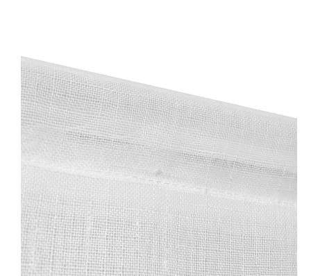 vidaXL Perdele bucătărie voal cu aspect de pânză 2 buc. 60x160 cm Alb[4/4]