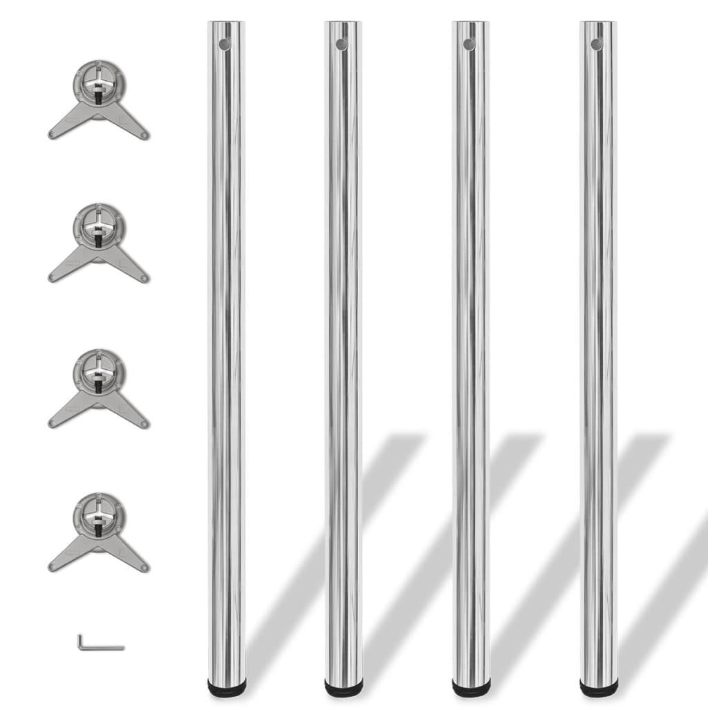 4 výškově nastavitelné stolové nohy chrom 1100 mm
