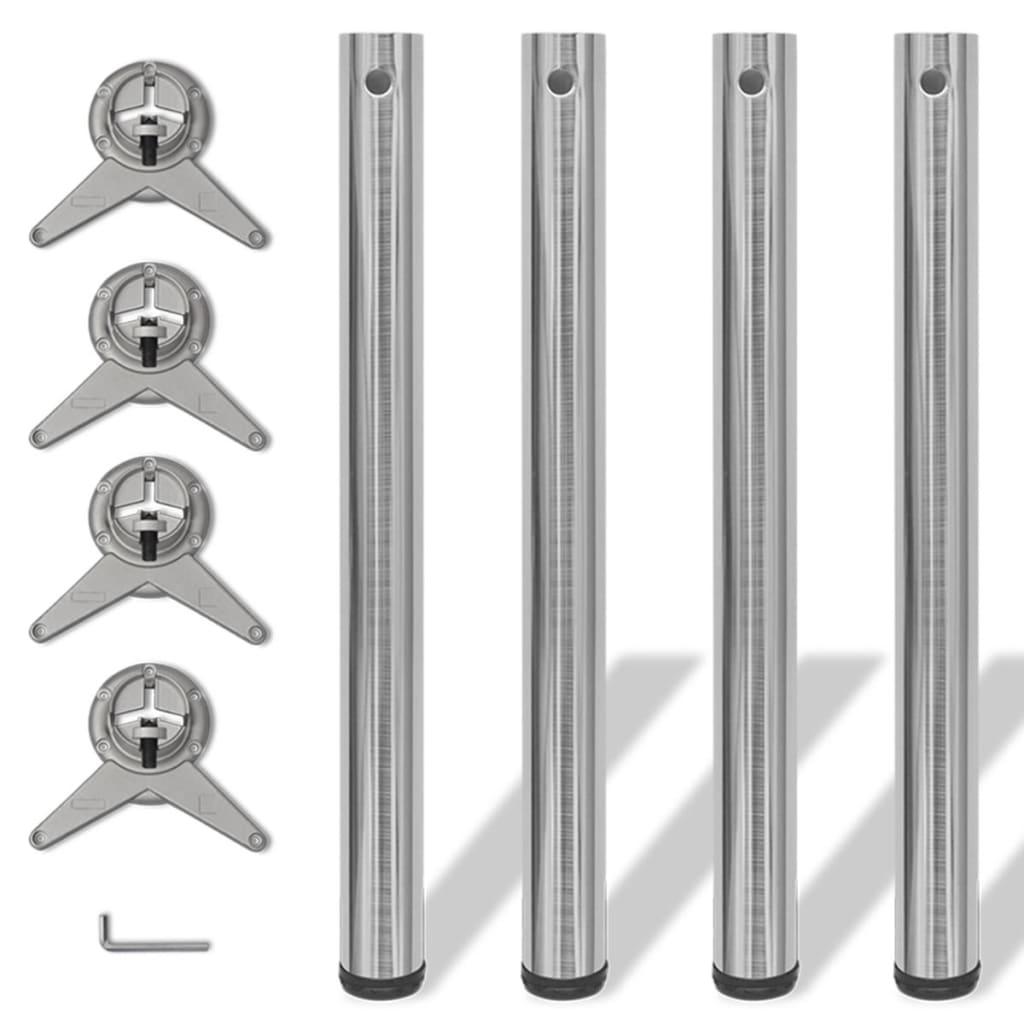 4 stolové nohy s nastavitelnou výškou, broušený nikl, 710 mm
