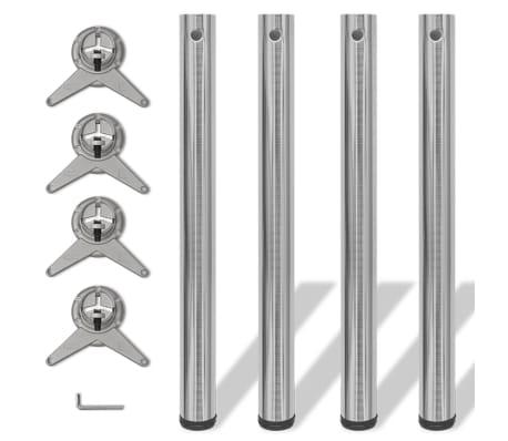 4 x Noge za Mizo iz Brušenega Niklja Nastavljiva Višina 710 mm[1/4]