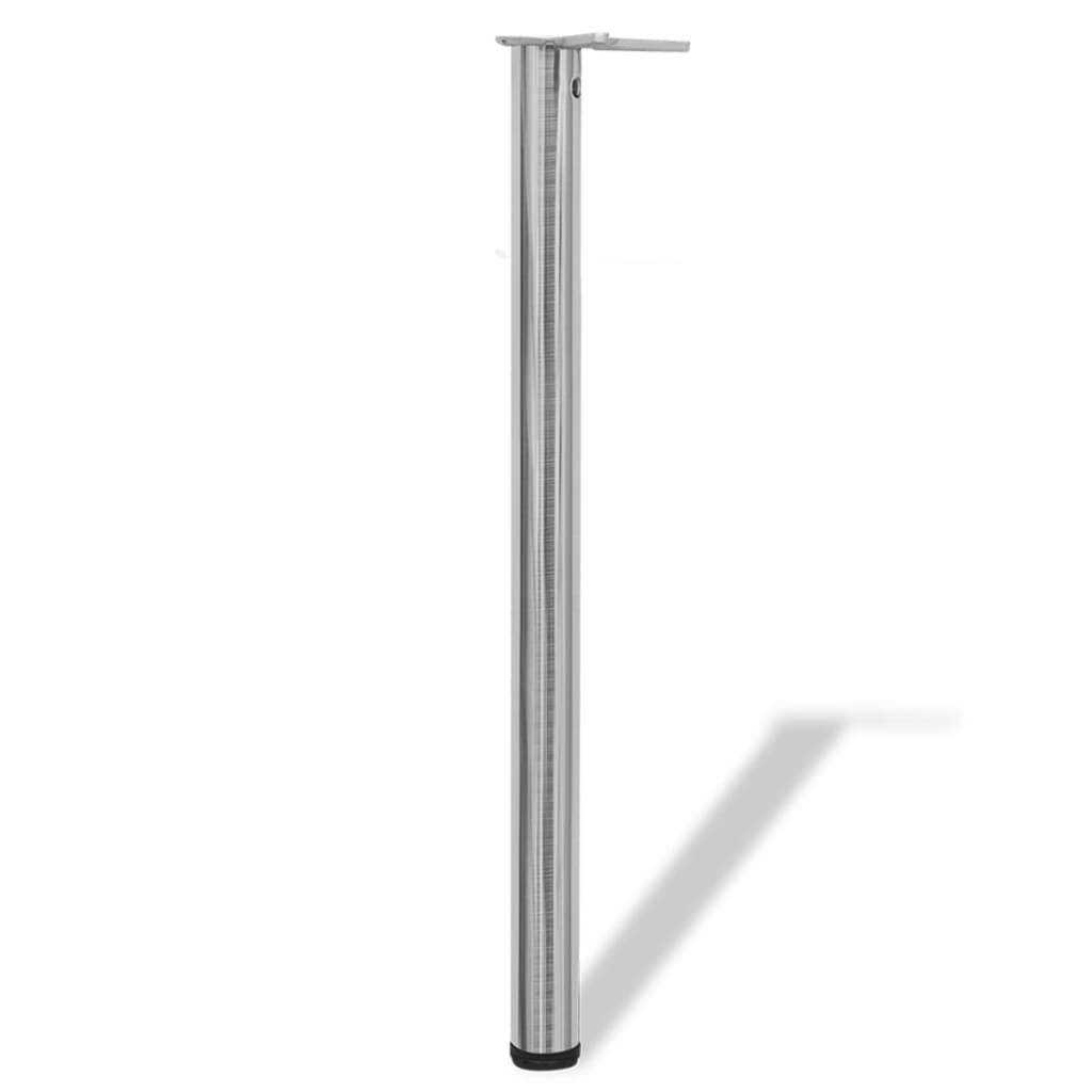 4 Podesive Noge za Stol Brušeni nikal 870 mm