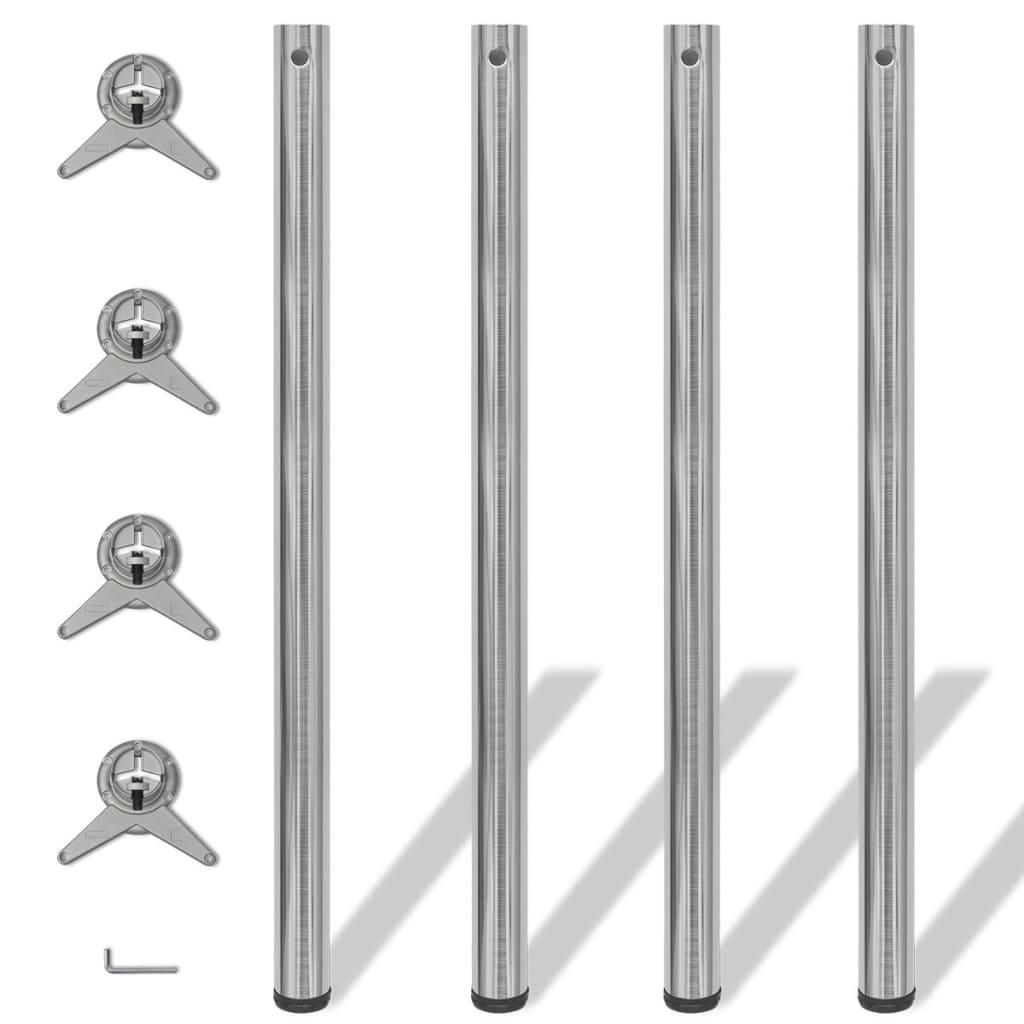 4 výškově nastavitelné stolové nohy broušený nikl 1100 mm