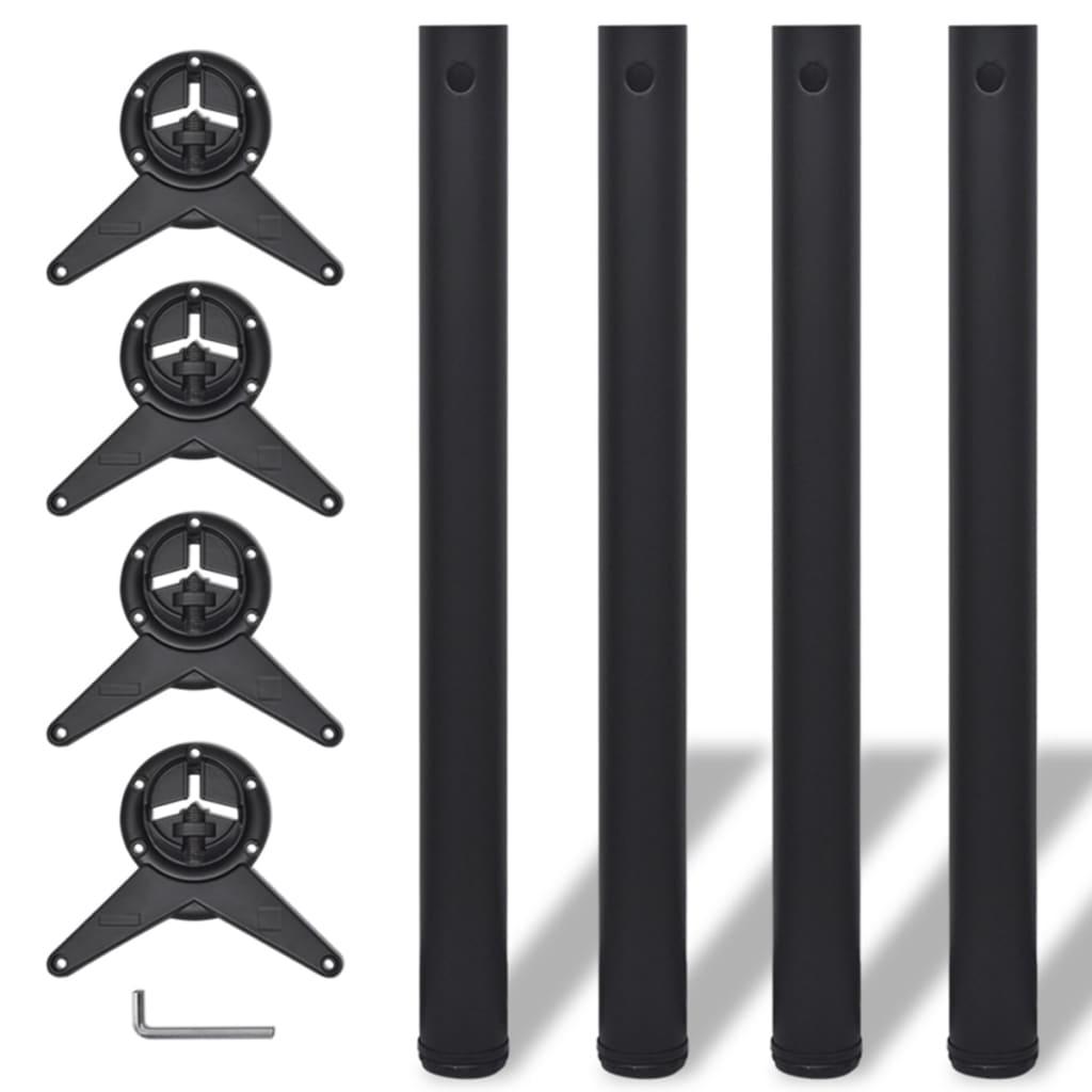 Picioare de masă reglabile, Negre, 710 mm, 4 buc. imagine vidaxl.ro