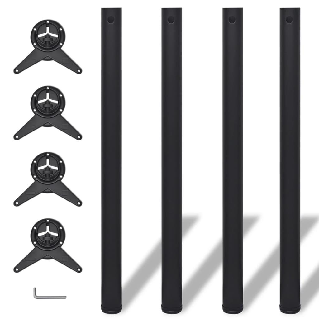 4 stolové nohy s nastavitelnou výškou černé, 870 mm