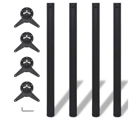 4 pieds de table réglables en hauteur 870 mm Noir