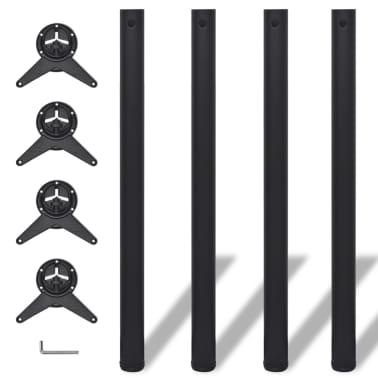 4 pieds de table réglables en hauteur 870 mm Noir[1/4]