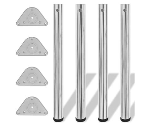 4 pieds de table réglables en hauteur 710 mm Chromé[1/4]