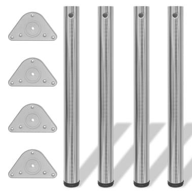4 Pieds de table Nickel Brossé à hauteur réglable 710 mm[1/4]
