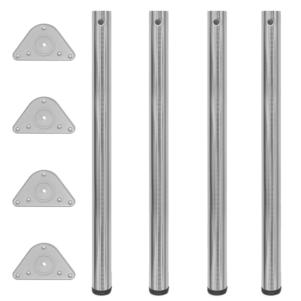Picioare de masă din nichel șlefuit, înălțime reglabilă, 4 buc, 870 mm imagine vidaxl.ro