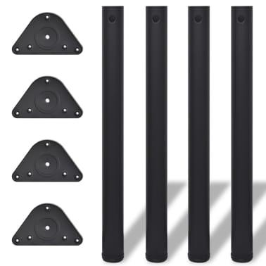 4 Črne Noge za Mizo Nastavljiva Višina 710 mm[1/4]