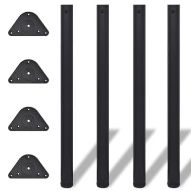 4 Noge za Mizo Nastavljiva Višina Črne Barve 870 mm[1/4]